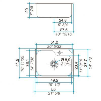 Bacha Acero Johnson Luxor-Mini-SI55-A Marmoleria Giacomo Portaro Planos