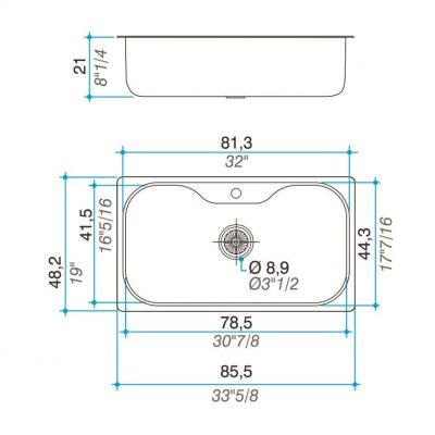 Bacha Acero Johnson Luxor-S171-STA-1 Marmoleria Giacomo Portaro Planos