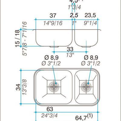Bacha Acero Johnson R37 Doble Marmoleria Giacomo Portaro Planos